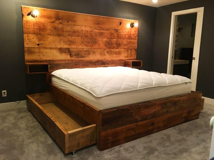 Bed Frame with roller drawer storage below. Bed frame