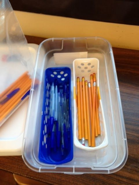 Sorting pens vs. pencils - could do sorting of any two objects - knives/forks, big vs. small spoons, erasers/pencil sharpeners, sharp vs. blunt, okay vs. broken items, etc