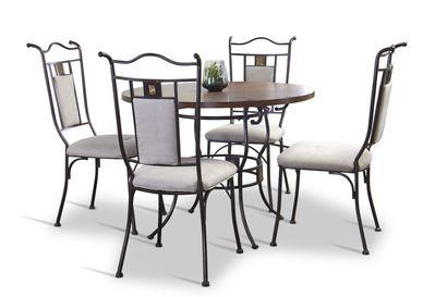 Baxton Studio Tirana Wood and Metal 5-Piece Transitional Dining Set