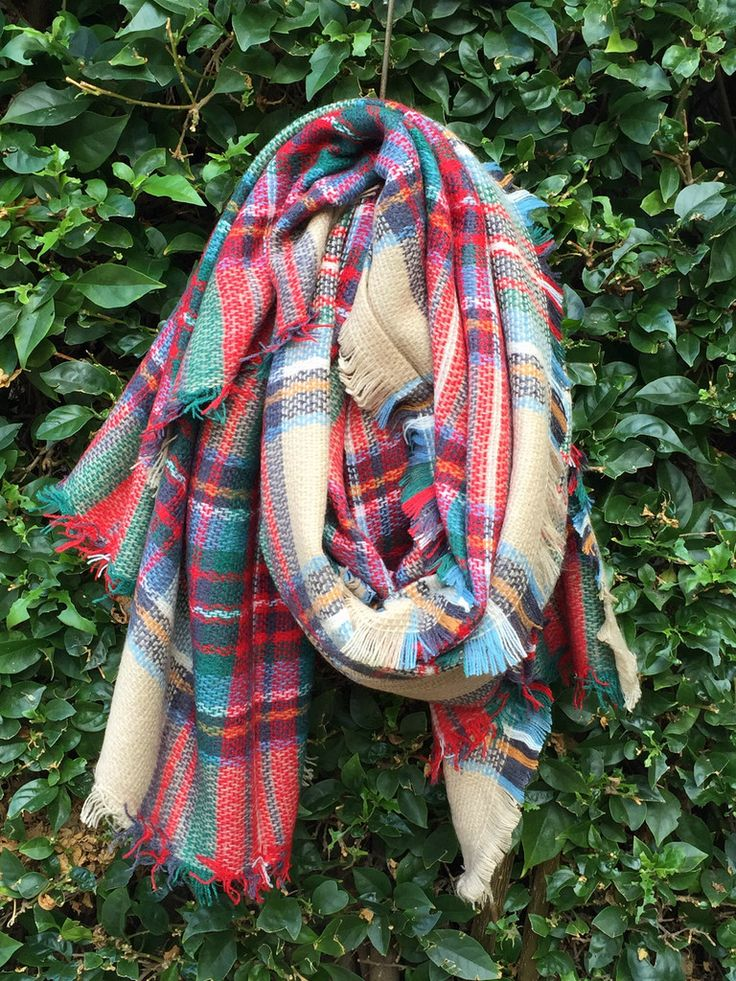 Plaid Pine Needle Blanket Scarf