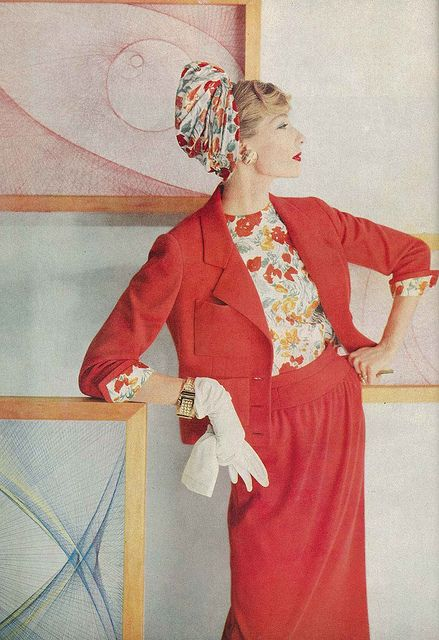 Jessica Ford, February Vogue 1958    Jersey suit and the silk blouse by Ben Gershel and hat is by Adolfo of Emme.