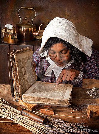 VINTAGE HERB WOMAN READING RECIPE