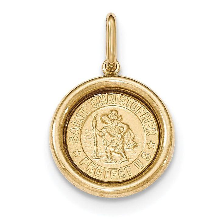 Versil 14k Yellow Gold St. Christopher Medal Pendant (St. Christopher Medal), Women's, Size: 18 Inch