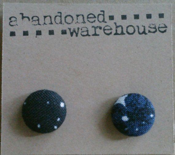 SPACE blue asymmetrical post earrings by AbandonedWarehouse