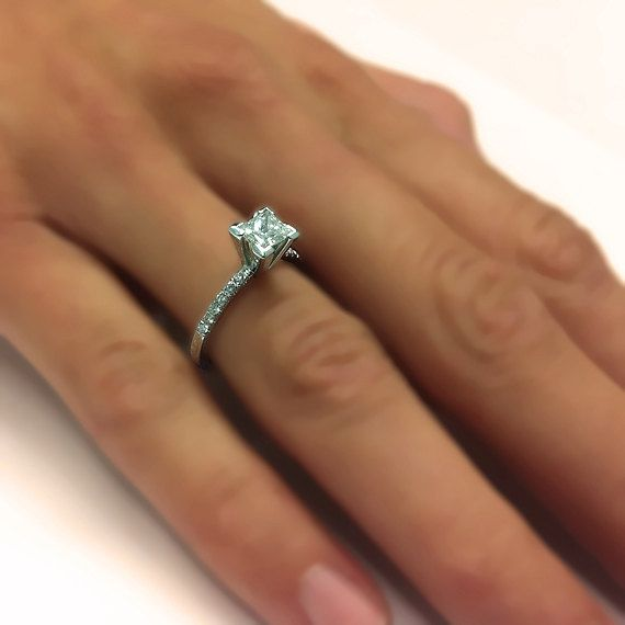 Natural Real Princess Cut Diamond Engagement Ring 14k White or Yellow Gold - With Selecting Center Diamond