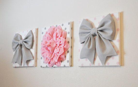 """Bébé fille chambre d'enfant - décoration murale - grand arcs gris et rose clair Dahlia sur toiles 12 x 12"""" à pois rose et gris pour bébé crèche de l'Art"""