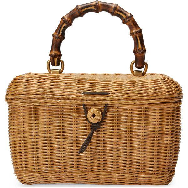 Gucci Basket Top Handle Bag ($1,890) ❤ liked on Polyvore featuring bags, handbags, gucci bags, straw handbags, bamboo handle purse, brown handbags and bamboo purse