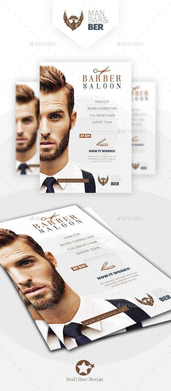 Barber Saloon Flyer Design Templates - Corporate Flyer PSD, InDesign INDD. Downl...