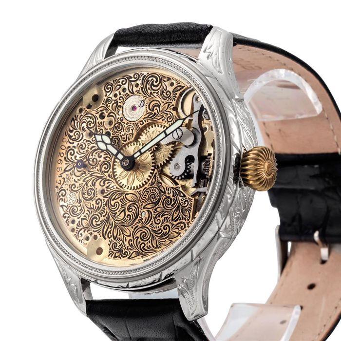 Catawiki online auction house: Omega - skeletonized - marriage men's wrist watch - 1908