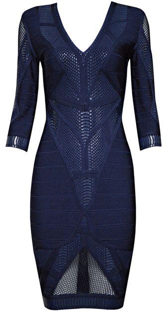 Mid Sleeve Puffa Print Crochet Detail Bandage Dress Blue  - Bandage Dresses and Celebrity Inspired Fashion