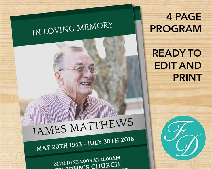 222 best Funeral Programs for Men Obituary Templates \ Prayer - funeral flyer template