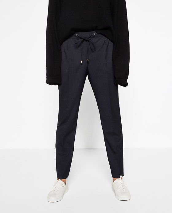 Image 1 of STRIPED TROUSERS WITH CORD from Zara IN Med.