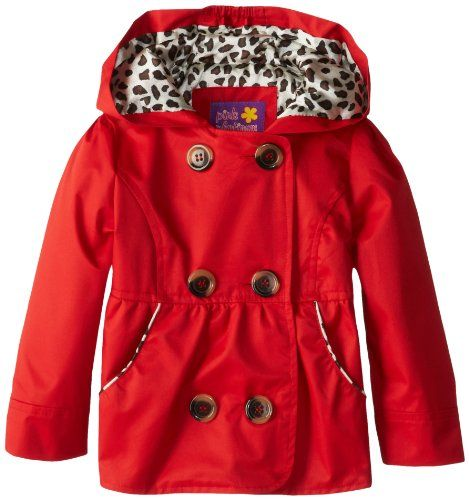 Pink Platinum Girls 2-6X Double Leopard Trench Rain Jacket, Red ...