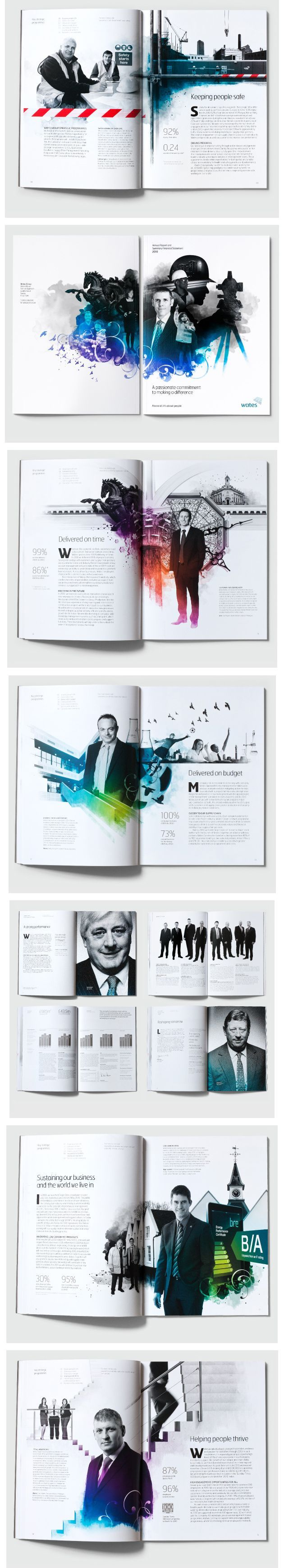 wates group - 2010 annual report   Love this use of white space, grayscale images and splashes of color.