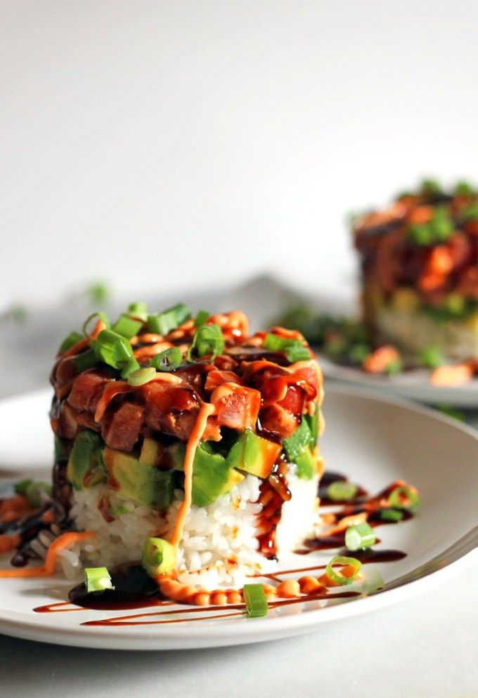 Build a tower of deliciousness by layering cubed seared tuna, cubed avocado, and cooked rice in a 1 cup dry measure, then flipping it over on a plate and drizzling with leftover sauce. Looks gourmet enough for a party, but is actually easy to make on a weeknight. | Flora Foodie recipe