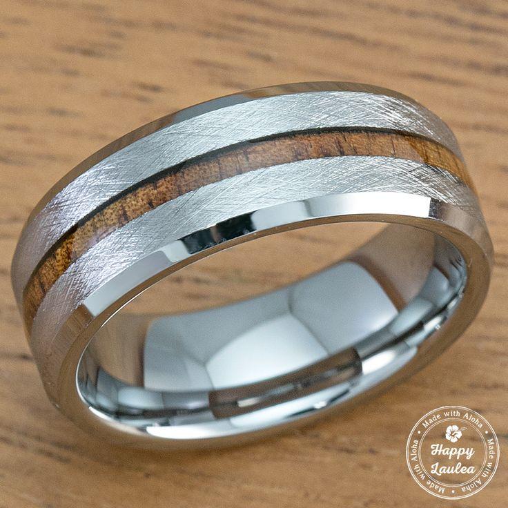 Tungsten Carbide Cross Brush Finish Beveled Ring with Hawaiian Koa Wood Inlay - 8mm, Flat Shape, Comfort Fitment