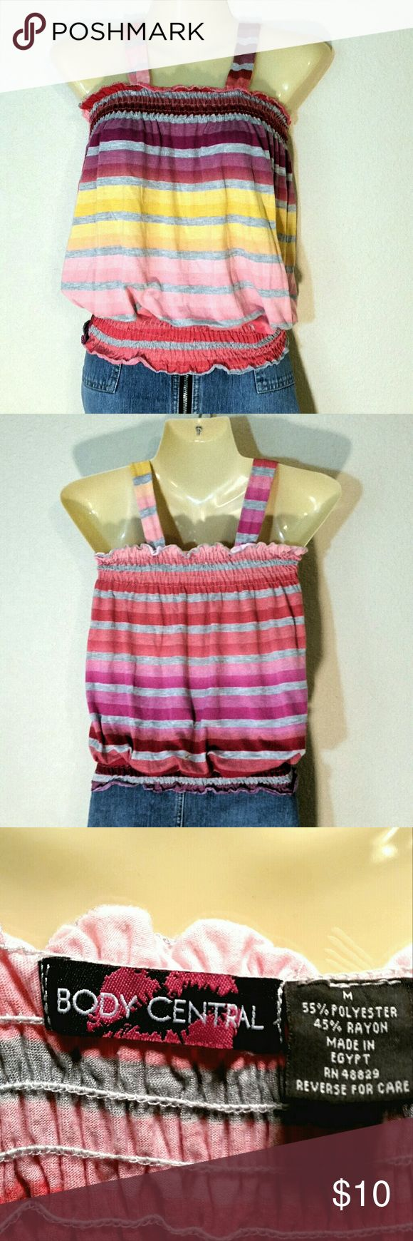 Body Central Colorful Top Vibrant stripes make this knit sleeveless top a summer must have! Body Central Tops Camisoles