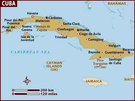 Map of Cuba showing the majority of major cities
