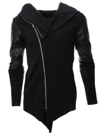 FLATSEVEN Men's Slim Unbalanced Zip Up Jacket