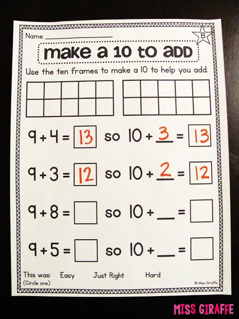 Worksheets and activities to teach the strategy of making 10 to add
