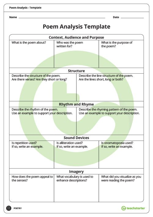Poetry Analysis Template Teaching Resource High School Pinterest