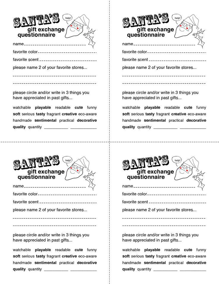 secret santa gift exchange forms secret santa questionnaire templates. Black Bedroom Furniture Sets. Home Design Ideas