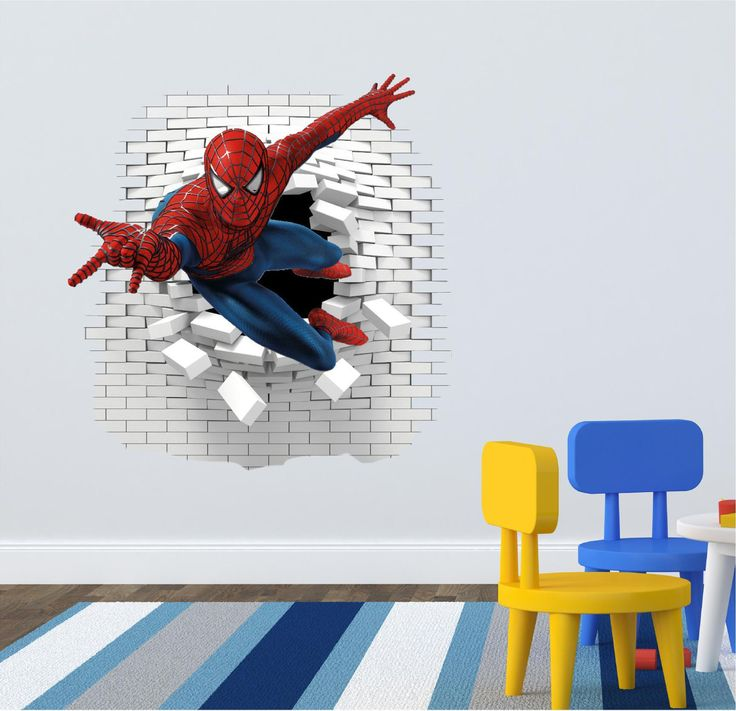 3D Spiderman Wall decal great for the kids room. by ArtogText on Etsy