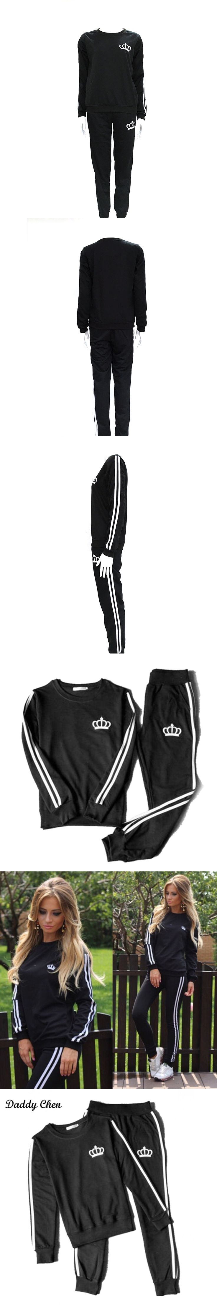 2 pcs set Femme Marque spring fashion tracksuit Women black Crown print Cotton Casual O neck sportwear sporting suit women 2017