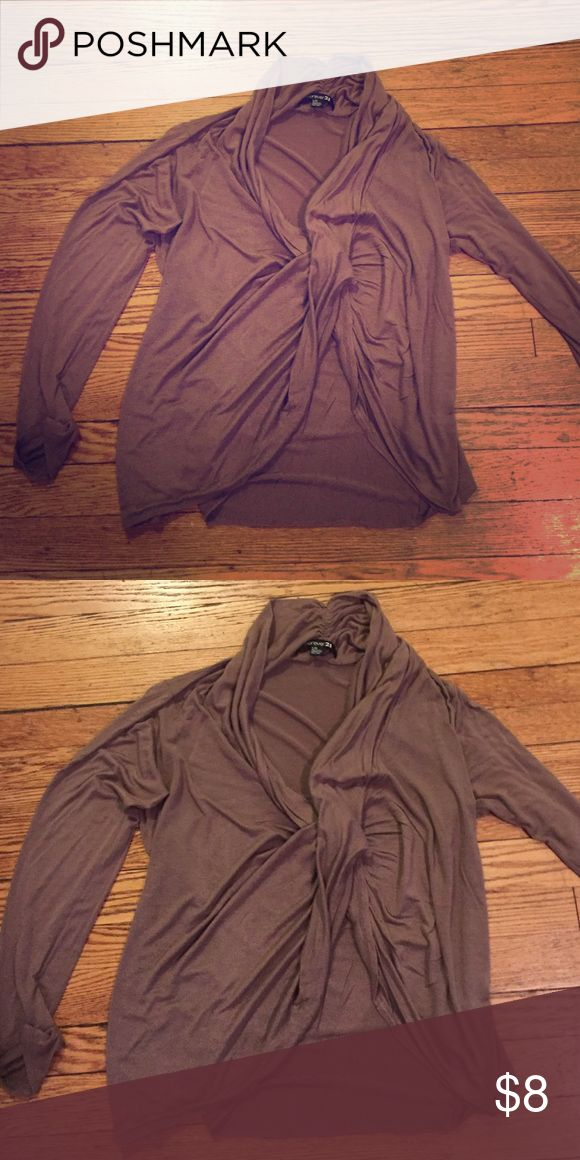 Brown drape open long sleeved top Brown long sleeved top. Drape neck and wrap effect Forever 21 Tops Tees - Long Sleeve