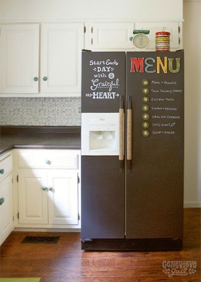 Such a good idea-Genevieve Gail: DIY Chalkboard Fridge with Jute Handles and Custom Magnets