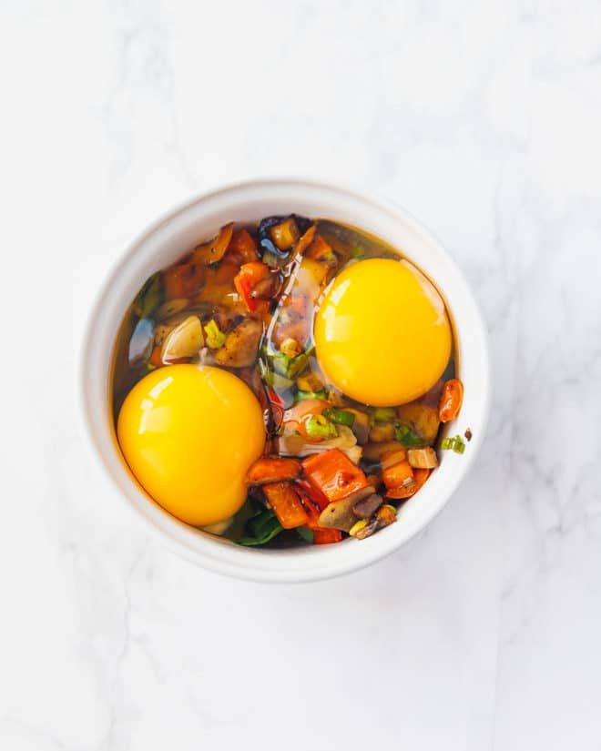 Baked eggs in ramekins with mushrooms, peppers and green onions   – All things cooked eggy//Low carb