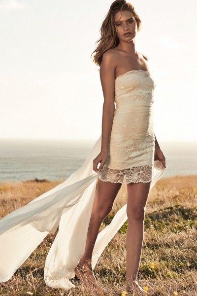 Fancy Strapless Sleeveless Lace Lace Sheath/ /Mini Wedding Dresses Vividress 109pounds