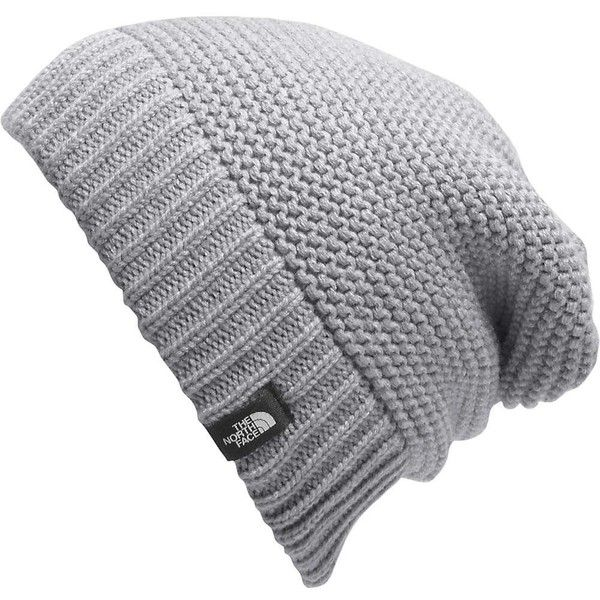 The North Face Women's Purrl Stitch Beanie found on Polyvore featuring accessories, hats, tnf light grey heather, the north face, knit cap beanie, beanie cap, knit beanie caps and ribbed knit hat