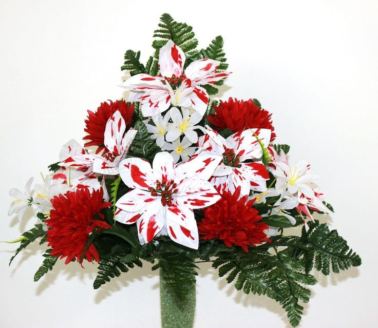 Beautiful Peppermint Poinsettia's Red Carnations Christmas Flowers For Mausoleum