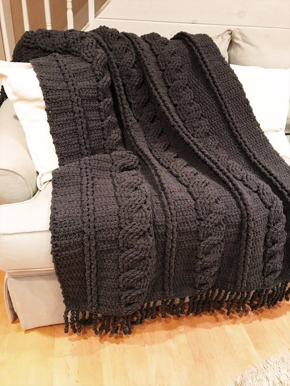 Chunky Throw Blanket Cozy Large Crochet Blanket Afghan Gray Cable