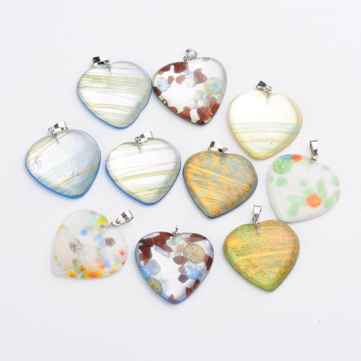 875 best jewelry pendants charms images on pinterest bangle wholesale heart handmade millefiori glass pendants with platinum tone brass findings mixed color hole aloadofball Image collections