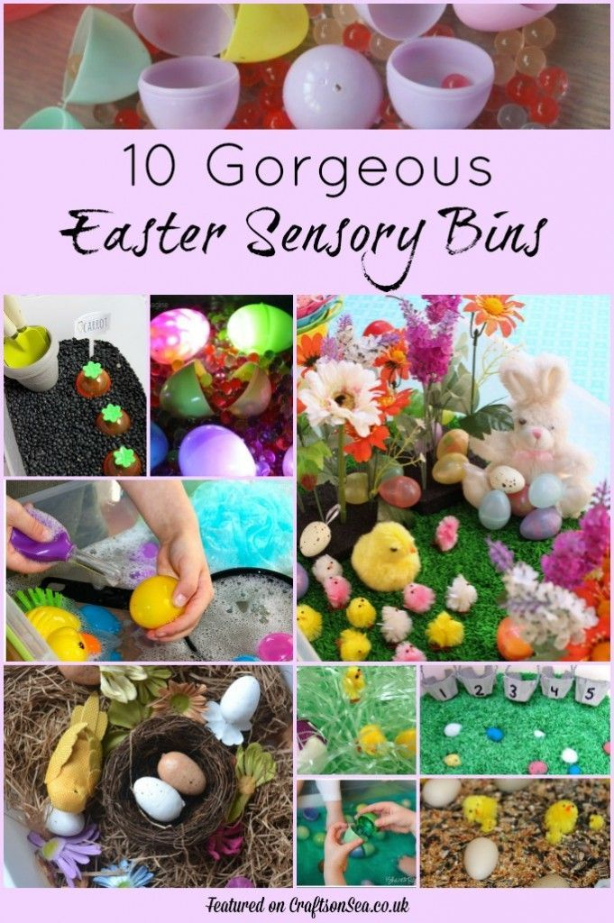 10 gorgeous easter sensory bins including chicks, eggs and carrots.