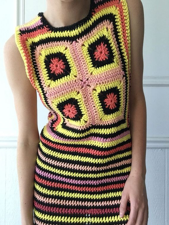 Mini vestido de Crochet de sorbete por TessaPerlowInc en Etsy
