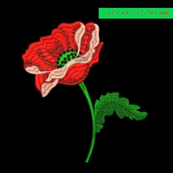 Poppy embroidery design flower Machine pattern digital download spring by GretaembroideryShop on Etsy