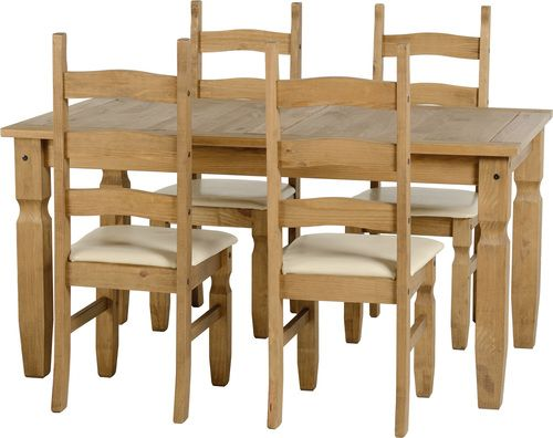 Corona, fixed dining  Set , 4 Cream PU Chairs