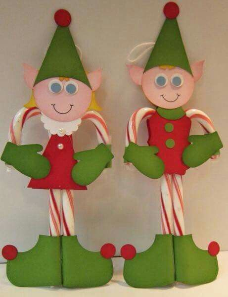 Duendes navide os con bastones de caramelo detalles para for Christmas craft shows in delaware