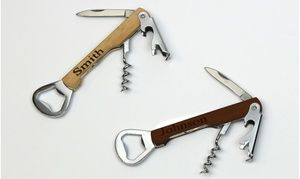 Groupon - 1 or 2 Personalized Wooden Can Opener, Bottle Opener, and Corkscrew Tools from Monogram Online (Up to 83% Off). Groupon deal price: $5