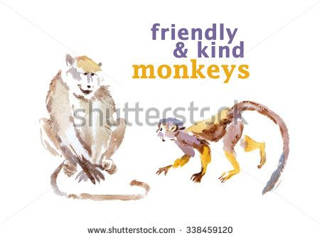 Watercolor hand drawn illustrations of cute monkey. - stock photo
