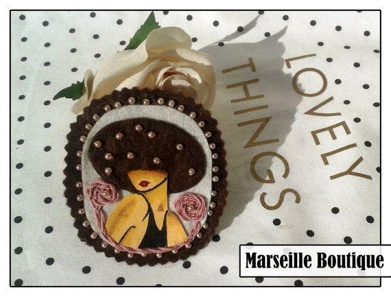 Girl Fabric Brooch, Felt Brooch, Art Brooch, Wearable Art Jewelry, Mother's Day Gift, hat brooch, girl brooch