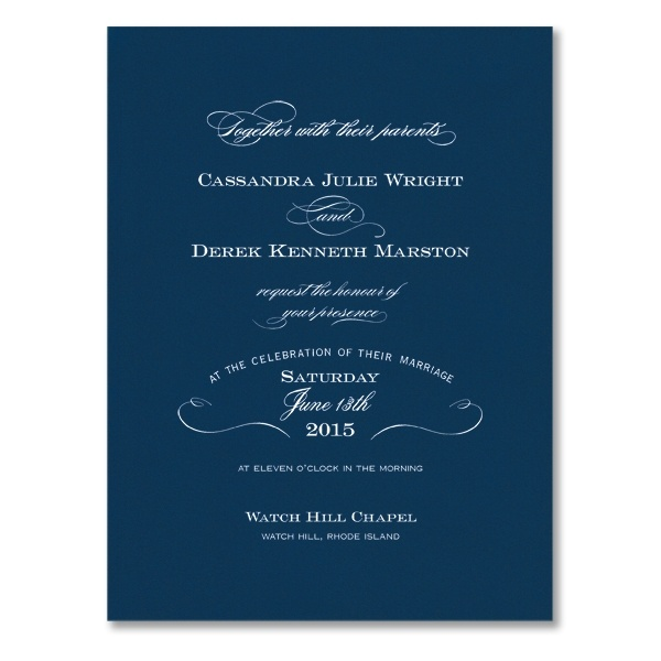 Love the mix of fonts - and the navy on white simply makes me melt!! William Arthur Invitation