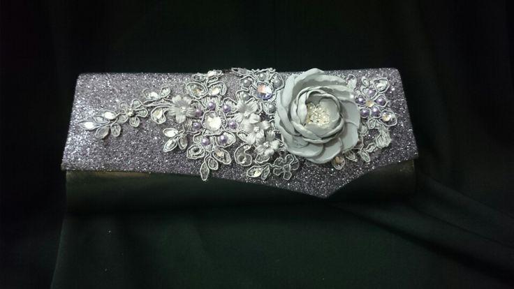 Grey purple clutch