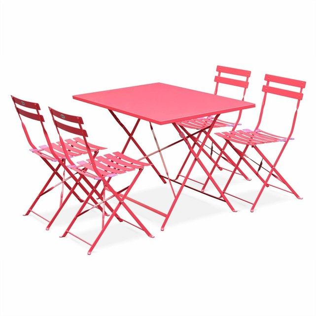 Salon de jardin bistrot pliable Emilia rectangulaire rouge ...