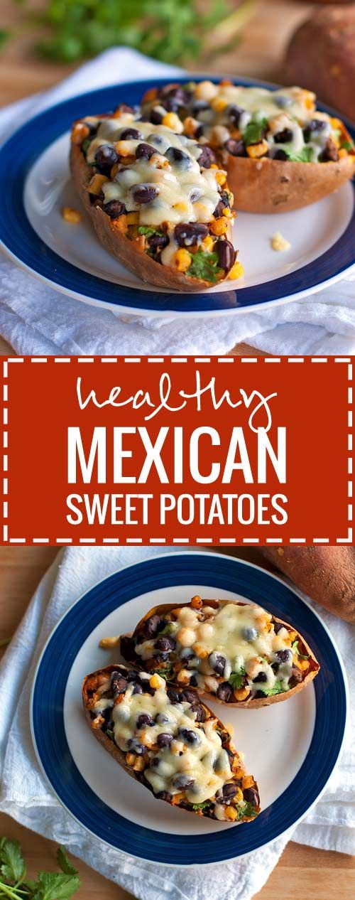 These healthy Mexican sweet potato skins are stuffed with a chipotle-sweet potato filling, black beans, corn, and topped with cheese.