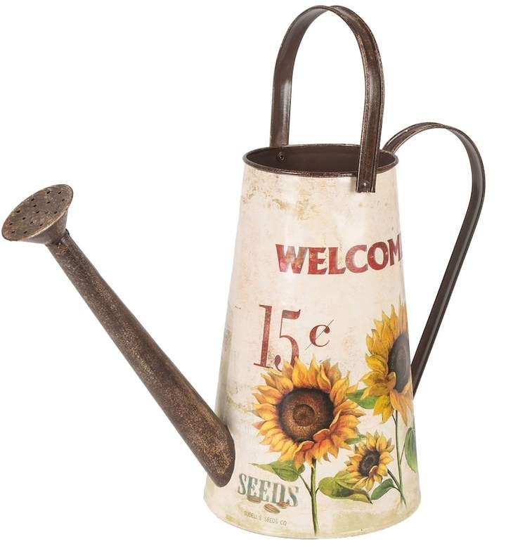 Sunflower watering can / Gerson White Indoor / Outdoor Decorative Farmhouse Watering Can / patio decor / rustic watering can / farmhouse style / rustic farmhouse / white sunflower watering can / #ad