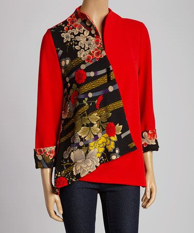 Look at this #zulilyfind! Red & Black Floral Jacket - Women & Plus by Come N See #zulilyfinds
